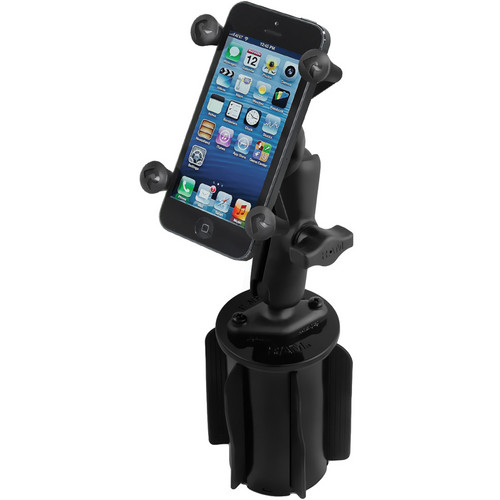 RAM MOUNTS RAM-A-CAN II Universal Cup Holder Mount with Universal X-Grip Cell Phone Holder