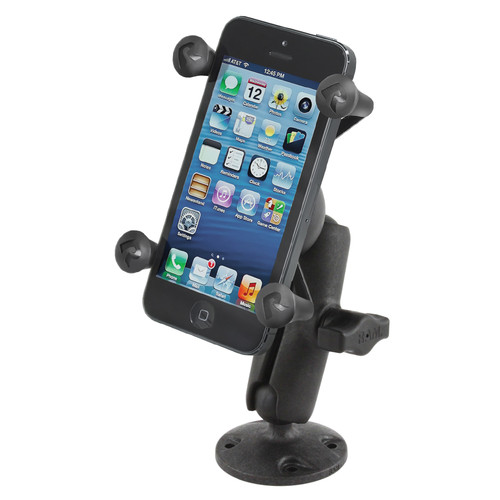 RAM MOUNTS Composite Flat Surface Mount with Universal X-Grip Smartphone Holder