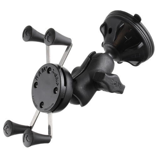RAM MOUNTS Composite Twist Lock Suction Cup Mount with Short Double Socket Arm & Universal X-Grip Cell/iPhone Holder