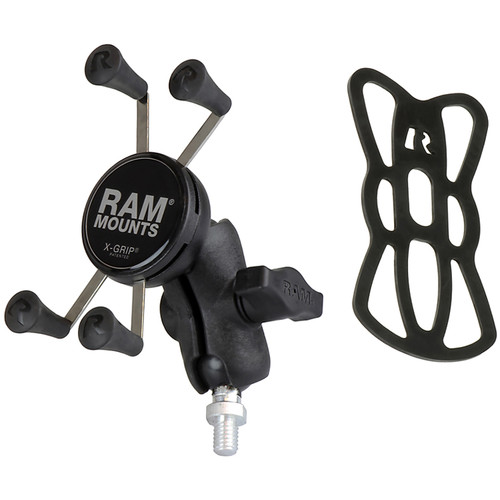 "RAM MOUNTS Universal X-Grip Cell Phone Cradle, 1"" Ball Mount with 3/8""-16 Threaded Post Base, and Short Double Socket Arm for Motorcycle"