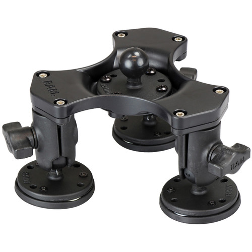 "RAM MOUNTS Triple Ball & Socket Adapter with 1"" Ball Base & Triple Magnetic Bases for Select Mount"