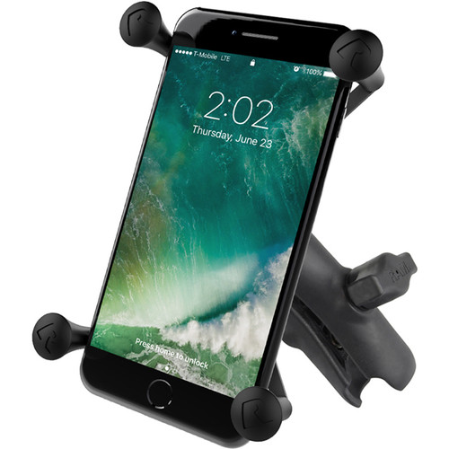 RAM MOUNTS Universal X-Grip Cell Phone Cradle with Double Socket Arm (Large)