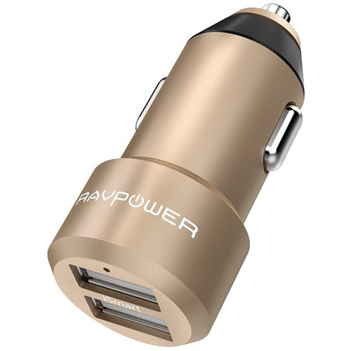 RAVPower Dual-USB Car Charger (Gold)