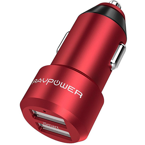 RAVPower Dual-USB Car Charger (Red)