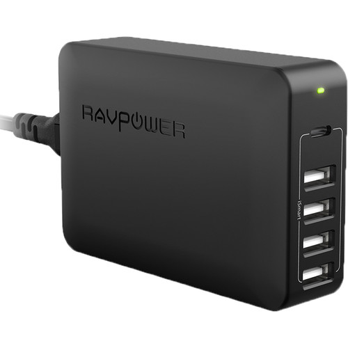 RAVPower 60W 5-Port USB Type-A Wall Charger with USB Type-C PD