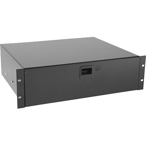 Raxxess Sliding Rackmount Drawer with Locking Latch (3 RU, Black)