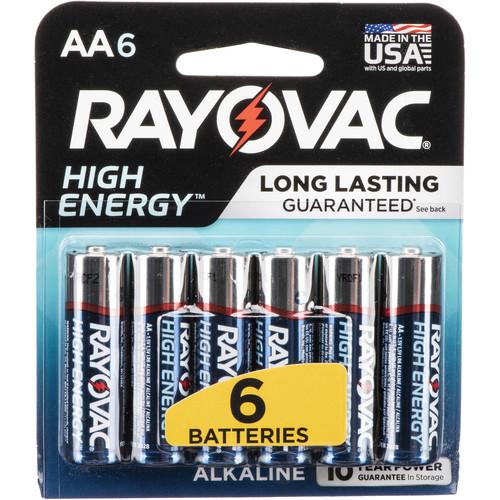 RAYOVAC AA Alkaline Battery (Carded, 6-Pack)