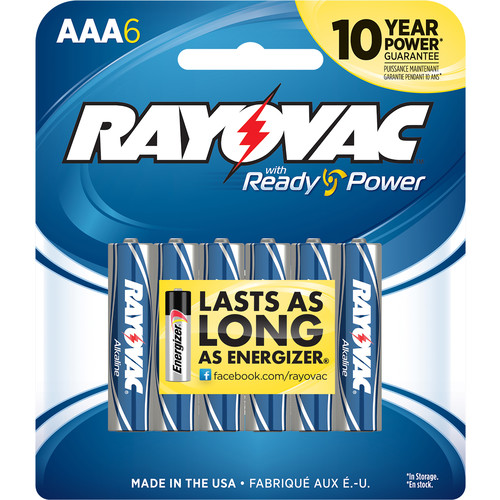 RAYOVAC AAA Alkaline Battery (Carded, 6-Pack)