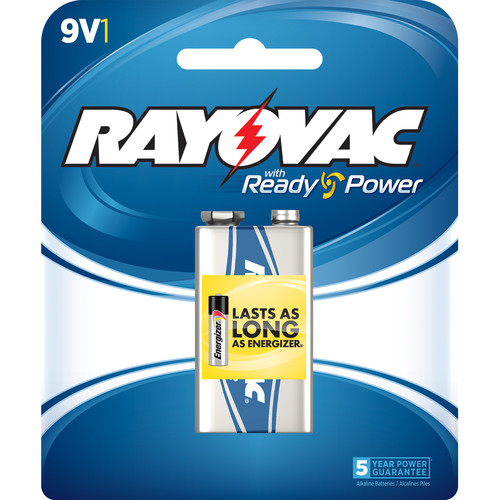 RAYOVAC 9V Alkaline Battery (Carded, 1-Pack)