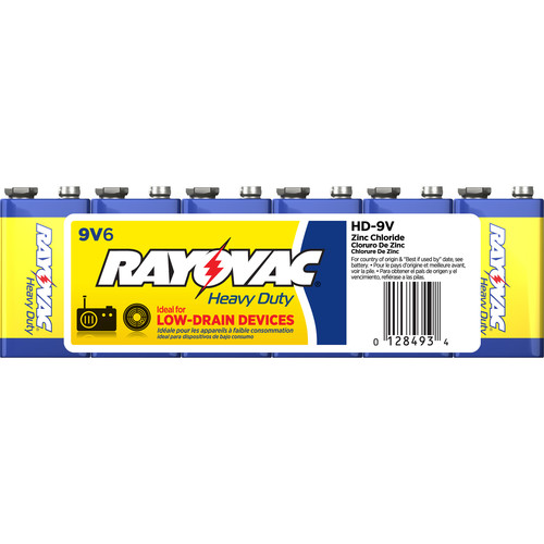 RAYOVAC 9V Heavy-Duty Battery (Shrink-Wrapped, 6-Pack)