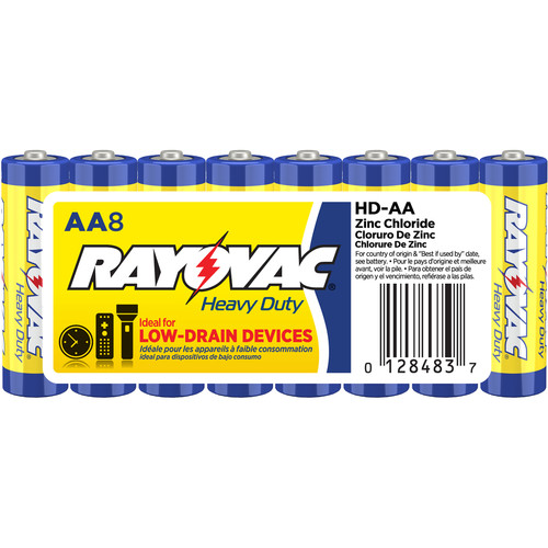 RAYOVAC Heavy-Duty AA Zinc Chloride Batteries (Shrink-Wrapped, 1.5V, 8-Pack)