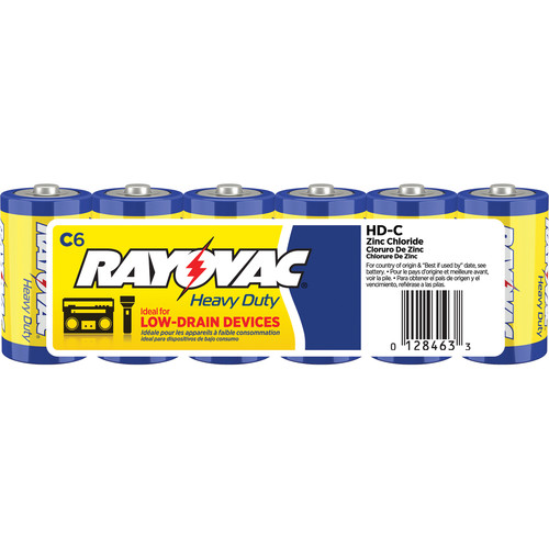 RAYOVAC Heavy-Duty C Zinc Chloride Batteries (Shrink-Wrapped, 1.5V, 6-Pack)