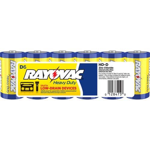 RAYOVAC Heavy-Duty D Zinc Chloride Batteries (Shrink-Wrapped, 1.5V, 6-Pack)