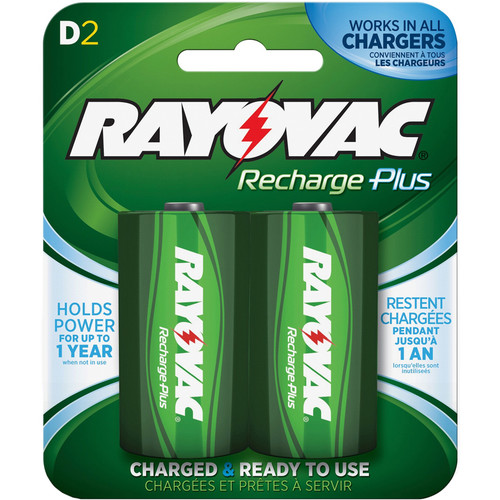 RAYOVAC Recharge Plus Rechargeable D Battery (2-Pack)