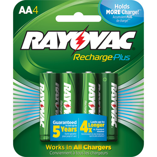 RAYOVAC Recharge Plus Rechargeable AA Battery (4-Pack)