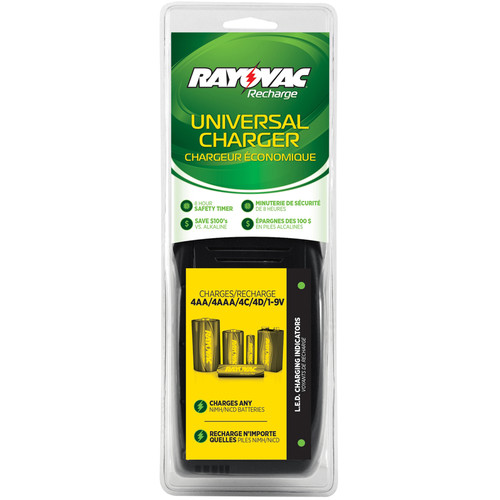 RAYOVAC Universal Rechargeable Bundle with Recharge Plus Universal Charger for All Rechargeable Battery Sizes
