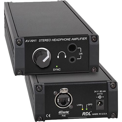 RDL AV-NH1 Dante Network to Stereo Headphone Amplifier