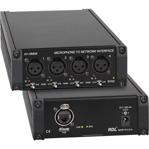 RDL AV-XMN4 4-Channel Microphone to Dante Network Interface