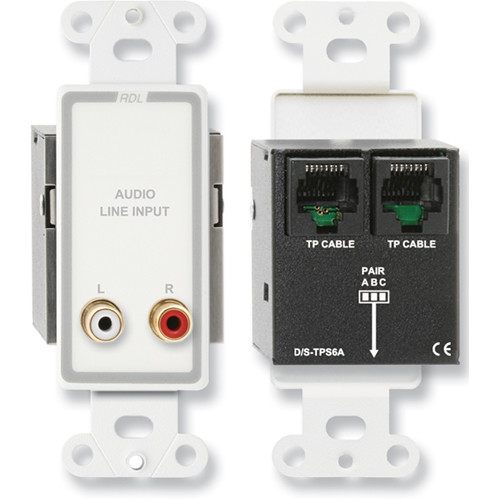 RDL D-TPS6A Format-A Passive Single-Pair Sender with Dual RCA Jacks (White/Gray)