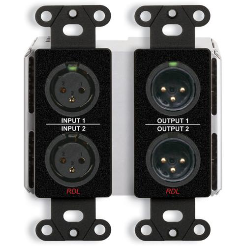 RDL DDB-BN22 2 x 2 Wall-Mounted Bi-Directional Mic/Line Dante Interface (Black)