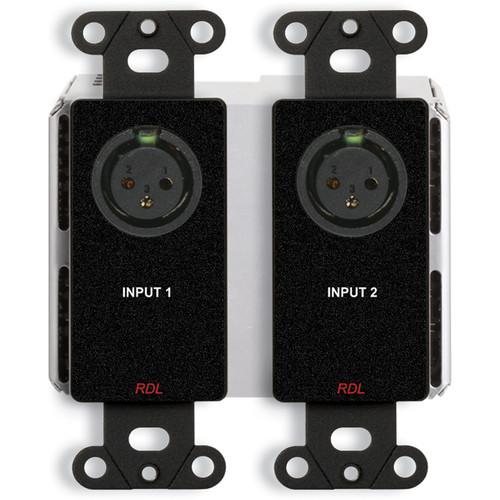 RDL DDB-BN2M 2 x 2 Wall-Mounted Bi-Directional Mic/Line Dante Interface (Black)