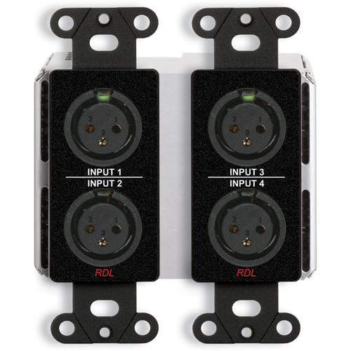 RDL DDB-BN40 4 x 2 Wall-Mounted Bi-Directional Mic/Line Dante Interface (Black)