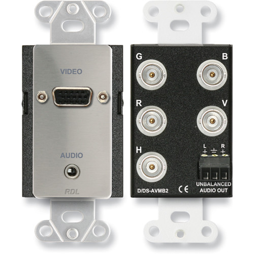 RDL DS-AVMB2 Audio and Video Monitor BNC Panel (Stainless Steel)