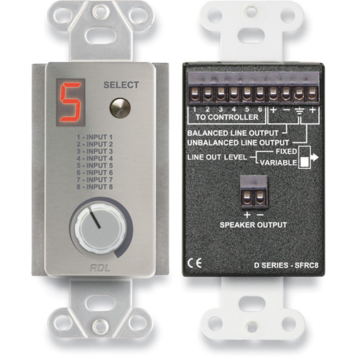 RDL DS-SFRC8 Room Control Station for SourceFlex Distributed Audio System (Silver)