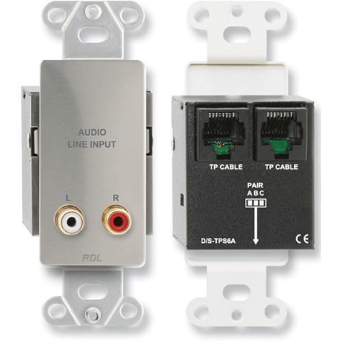 RDL DS-TPS6A Format-A Passive Single-Pair Sender with Dual RCA Jacks (Stainless Steel)