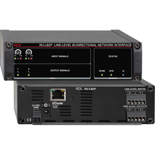 RDL RU-LB2P Line-Level Bi-Directional Network Interface (Two-Signal, PoE)