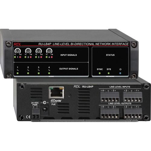 RDL RU-LB4P Line-Level Bi-Directional Network Interface (Four-Signal, PoE)