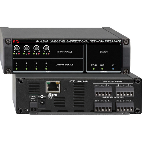 RDL RU-LB4P Line-Level Bi-Directional Network Interface (Four-Signal, PoE)