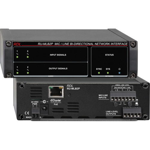 RDL RU-MLB2P Mic/Line-Level Bi-Directional Network Interface (Two-Line, PoE)