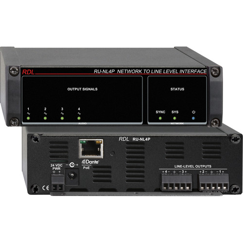RDL RU-NL4P Network to Line-Level Interface (Four-Channel, PoE)