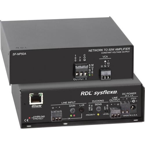 RDL SF-NP50A 50W Dante to 70/100V Audio Amplifier (North American Model)