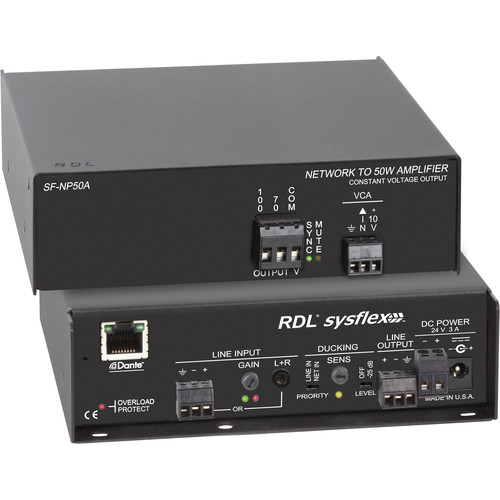 RDL SF-NP50AX 50W Dante to 70/100V Audio Amplifier (Export Model, No Power Cord)