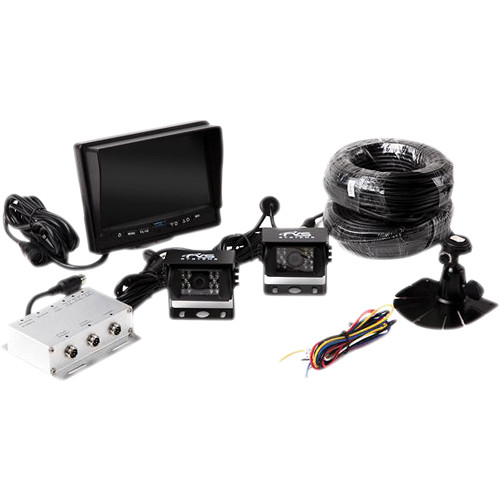 "Rear View Safety Backup Camera System with Two Cameras and 7"" Flush Mount Monitor"