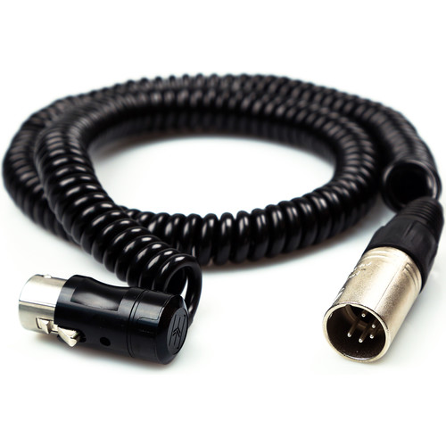 Remote Audio Low-Profile XLR5F to XLR5M Balanced Coiled Stereo Jumper Cable (2' Collapsed, 7' Extended)