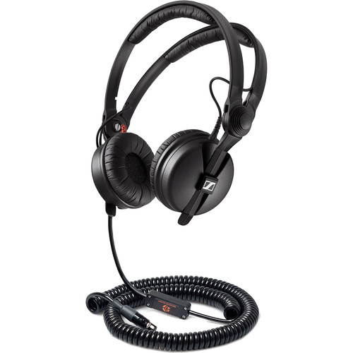Remote Audio Modified Sennheiser HD25 Headset:5&12-48V Switchable Electret Inline Mic/Coil TA5F 1.75-8'Cable
