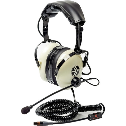 Remote Audio Hi-Noise Isolate Headset/5-24V Switchable Electret Talkback Boom Mic. Coil Cable-TA5F/1.75'-8'
