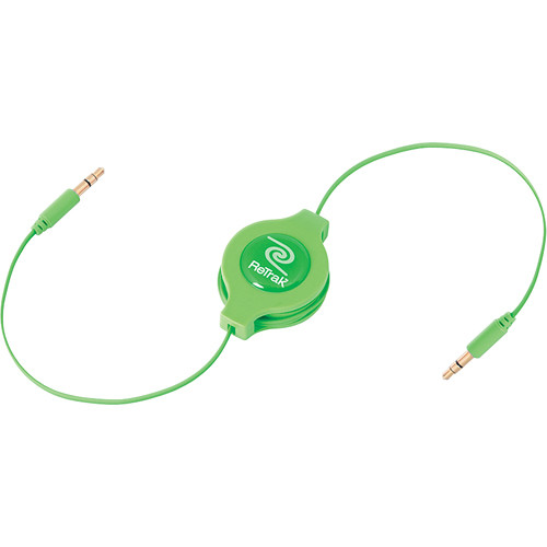ReTrak Retractable Auxiliary Cable (Green, 5')