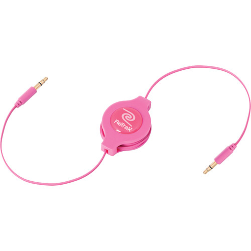 ReTrak Retractable Auxiliary Cable (Pink, 5')