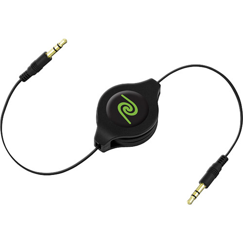 ReTrak Retractable 3.5mm MP3 Player to Car Stereo Cable Value Pack (2-Pack, Black)