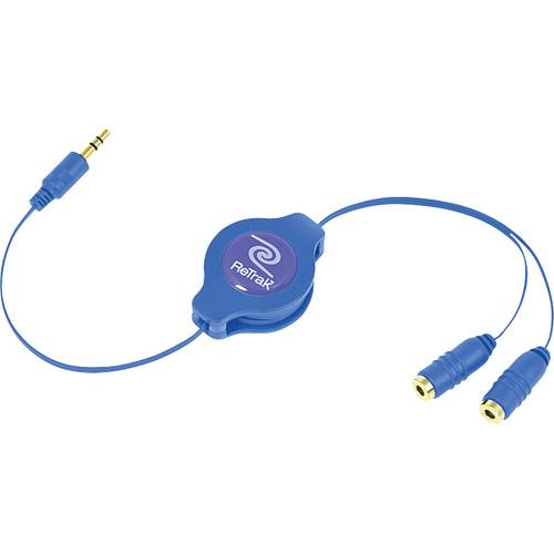 ReTrak ETCABLESPLBU Retractable Blue Headphone Splitter (3.2')