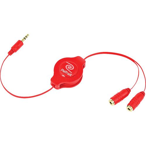 ReTrak ETCABLESPLRD Retractable Red Headphone Splitter (3.2')
