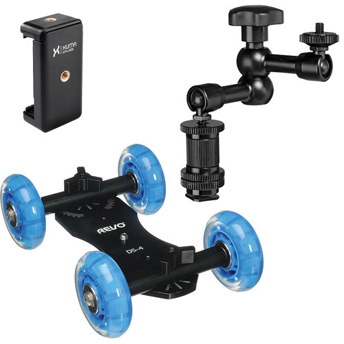 Revo Quad Skate Dolly, Smartphone Mount, and Articulating Arm Kit