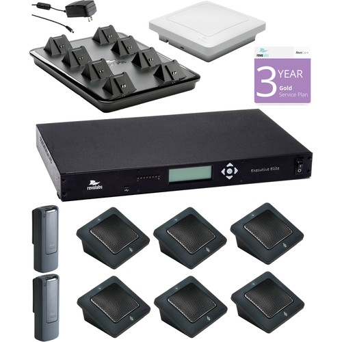 Revolabs Executive Elite 8 Channel Wireless System with 6 Directional Microphones & 2 Wearable Microphones (with 3-Year revoCARE Gold Warranty)