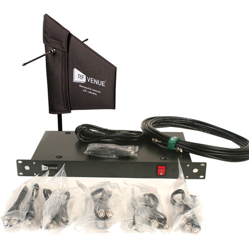 RF Venue 4-Channel Antenna Distributor with Cloth-Covered Diversity Fin Antenna and Cables Bundle