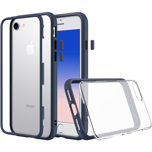 RhinoShield Mod Case for iPhone 7 Plus/8 Plus (Dark Blue, Clear Backplate)