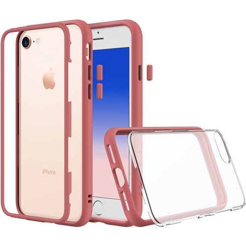 RhinoShield Mod Case for iPhone 7 Plus/8 Plus (Coral Pink, Clear Backplate)